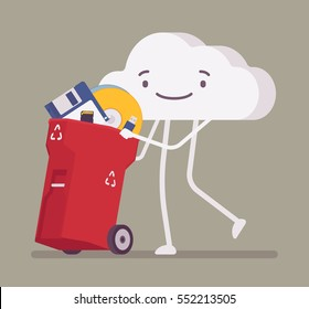 Walking and smiling full length cloud pushing trash bin with old memory, disk, diskette, useless digital information, lack of storage capacity, end of data archiving, delete and cleaning, metaphor