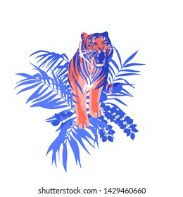 Walking and snarling tiger surrounded by tropical leaves. Vector exotic illustration