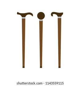 Walking stick. Set of retro walking sticks. Vector illustration. EPS 10.