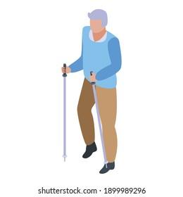 Walking sticks grandfather icon. Isometric of walking sticks grandfather vector icon for web design isolated on white background