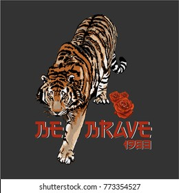 Walking tiger decorated with roses in original colours. Graphic design.