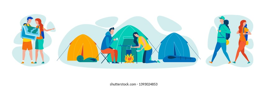 Walking Tourism and Hiking, Outdoor Activity Flat Vector Concepts Set Isolated on White Background. Tourists Couple Studying Map, Walking with Backpacks, Cooking Dinner on Camp Fireplace Illustration