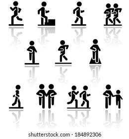 Walking vector icons set . EPS10.