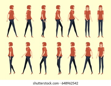 walking woman for animation 14 frame sequence. Flat Character cartoon,people style. vector illustration.