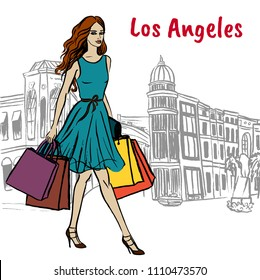 Walking woman on Rodeo Drive in Los Angeles. Hand-drawn illustration. Fashion sketch