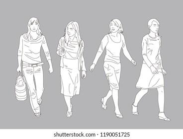 Walking woman Vector illustration set