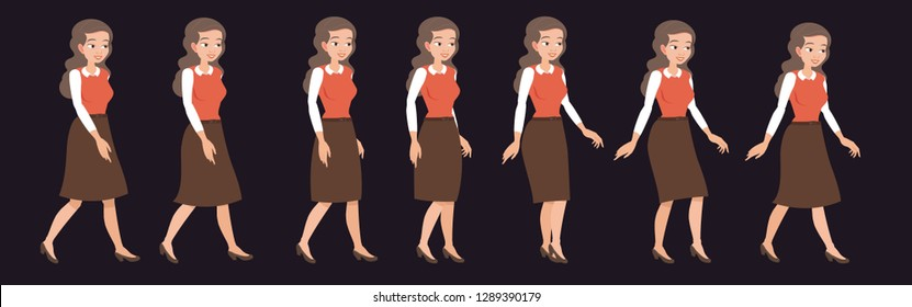 Walking young girl, businesswoman or secretary. Animation of the gait cycle of a woman