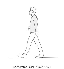 Walking young man with glasses. Line drawing vector illustration.