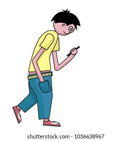 Walking Young man with mobile phone on white background. Vector cartoon character