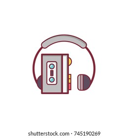 Walkman Icon Flat Illustration