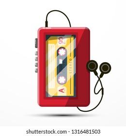 Walkman Vector Symbol. Retro Music Player with Audio Cassette.