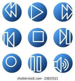 Walkman web icons, blue circle series