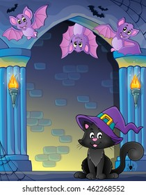 Wall alcove with Halloween cat and bats - eps10 vector illustration.