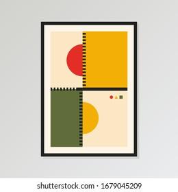 Wall Art Print, Bauhaus poster, Retro Digital Art Print, Unique Home decor. Old pop colors palette. Poster size 24x36 in. Vector EPS 10