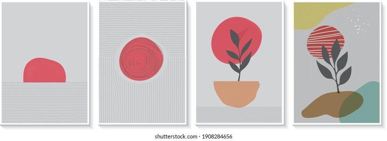 Wall art vector set , Abstract Boho wall art, Minimalist design poster, postcard