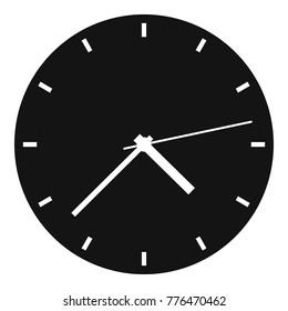 Wall black clock modern icon. Simple illustration of wall black clock modern vector icon for web