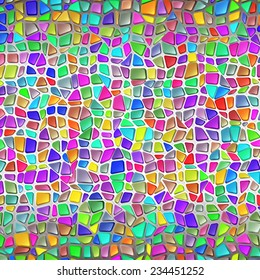 Wall from a brilliant stone; The Multicolored mosaic in Gaudi's style; Eps10