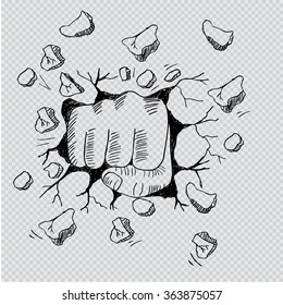 a wall is broken through by a fist. Hand drawing illustration.