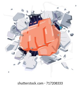 A Wall Is Broken Through By A Fist hand. punch hitting  and damage wall. power or freedom concept - vector illustration