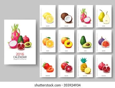 Wall calendar 2016 - polygonal fruit and berries. Vector illustration