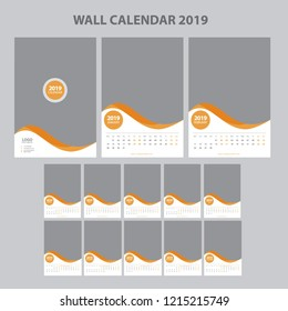 Wall Calendar 2019 with Place for Photo. Vector Template