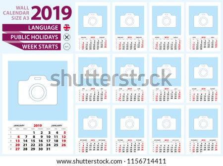 wall calendar 2019 size a3 english language week start from sunday