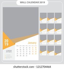 Wall calendar 2019, template vector