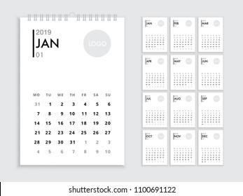 Wall calendar 2019 template. White corporate calendar new year 2019 with space for logo