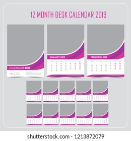 Wall Calendar 2019. Vector Template with Place for Photo. 12 Months. Week Starts Monday.