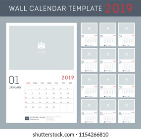 Wall calendar for 2019 Year. Set of 12 Months.