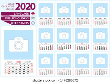 Wall calendar 2020 size A3. English language, week start from Sunday