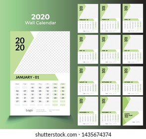 wall calendar 2020 template design