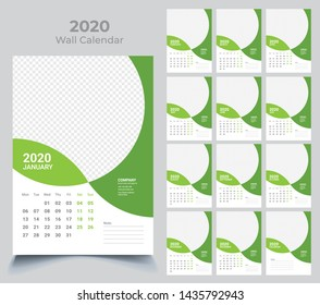 Wall Calendar 2020. Vector Template with Place for Photo. 12 Months. Week Starts Monday.