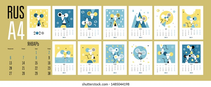 Wall calendar 2020 with white rat. Russian, RUS. Set of 12 months. Week starts on Monday. Concept, vector editable template. Symbol of the year in the Chinese calendar. Abstract. Vertical A4.