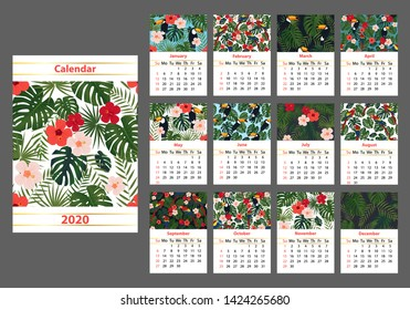 Wall calendar A3 format with bright tropical pictures for every month page, editable vector illustration