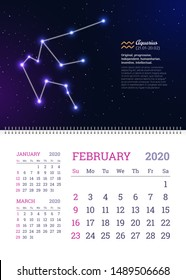 Wall calendar for February 2020 year with aquarius zodiac constellation. Aquarius star sign and dates of birth on deep space background. Astrology horoscope with personality traits vector illustration