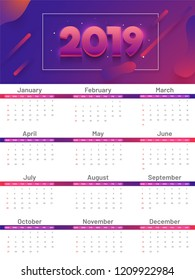 Wall calendar layout for 2019 with abstract elements.