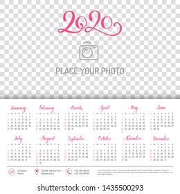 Wall calendar layout for 2020 year with place for photo. English template with basic grid on white background. Week starts from Sunday. Annual calendar from January to December vector design.