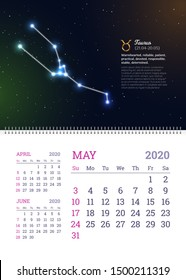 Wall calendar for May 2020 year with taurus zodiac constellation. Taurus star sign and dates of birth on deep space background. Astrology horoscope with unique personality traits vector illustration