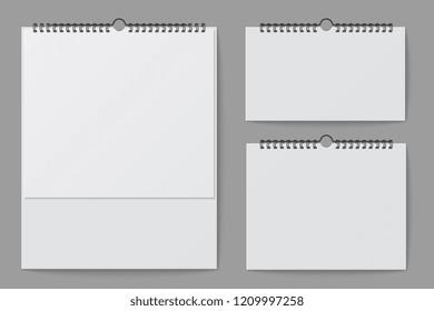 Wall calendar mockup. Blank white desktop office calendar with spiral binder. 3d vector isolated template