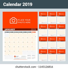Wall Calendar Planner for 2019 Year. Vector Design Print Template with Place for Photo and Notes. Phases of the Moon. Week Starts on Monday. Set of 12 months