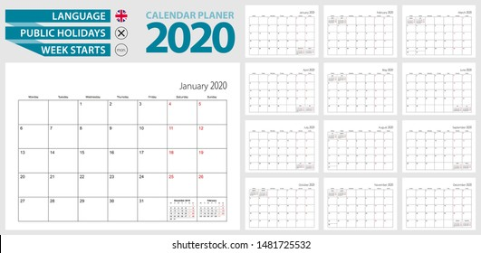 Wall calendar planner for 2020. English language, week starts from Monday. Vector template.