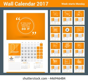 Wall calendar planner print template for 2017 year. Calendar poster with motivational quote. 3 Months on page. Week starts Monday