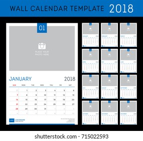 wall calendar planner template for 2018 year set of 12 months