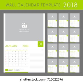 Wall calendar planner template for 2018 year. Set of 12 months.