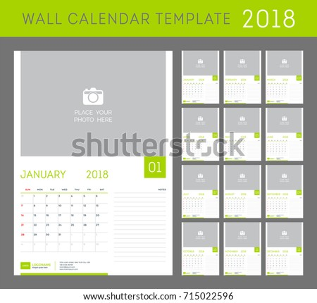 Wall Calendar Planner Template 2018 Year Stock Vector Royalty Free