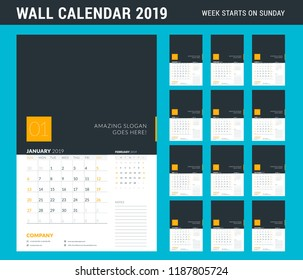 Wall calendar planner template for 2019 year. Set of 12 months. Week starts on Sunday. Vector illustration