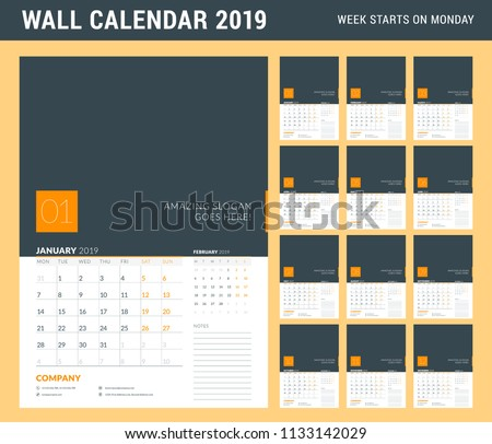 Wall Calendar Planner Template 2019 Year Stock Vector Royalty Free
