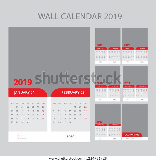 Wall Calendar Planner Template 2019 Year Stock Vector