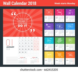 Wall Calendar Template for 2018 Year. Vector Design Print Template with Typographic Motivational Quote on Color Background. Week starts on Monday